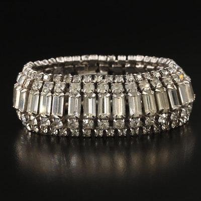 Vintage Weiss Rhinestone Link Bracelet