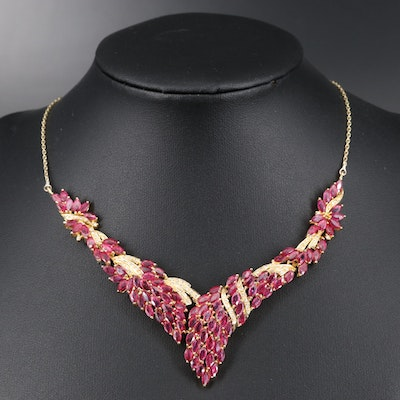 14K 17.40 CTW Ruby and Diamond Chevron Necklace