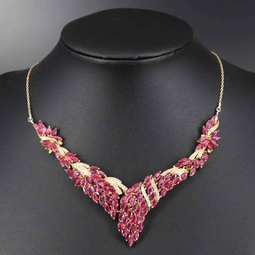 14K 17.40 CTW Ruby and Diamond Chevron Necklace