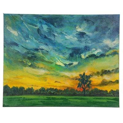 Farshad Lanjani Acrylic Painting of Park Landscape with Sunset, 21st Century