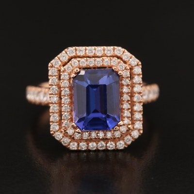 14K Rose Gold Tanzanite and Diamond Ring