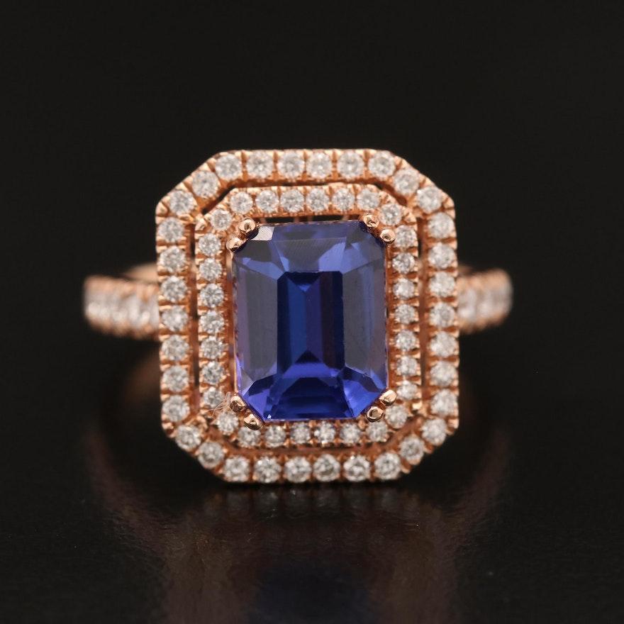 14K Rose Gold Tanzanite and Diamond Ring