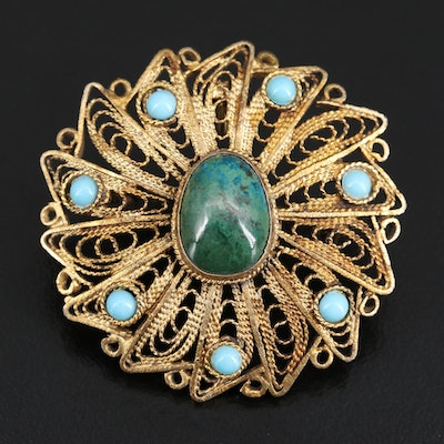 Israeli 935 Silver Eilat Stone and Turquoise Filigree Brooch