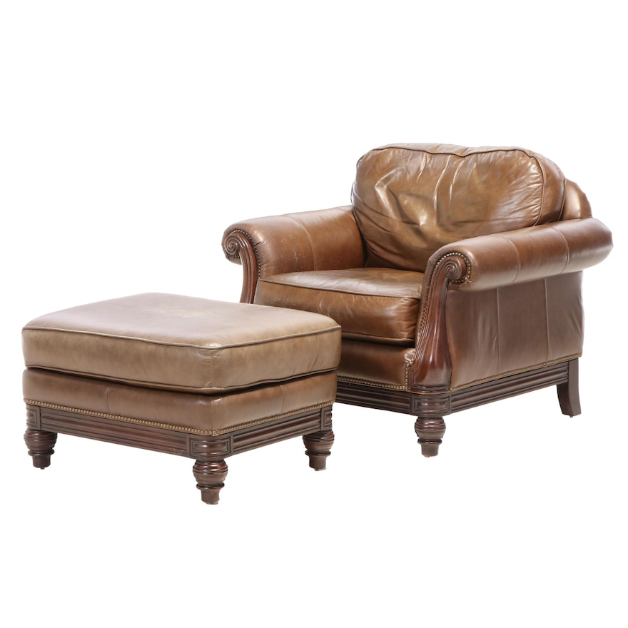 Bernhardt Furniture Brass-Tacked Leather and Hardwood Club Chair with Ottoman