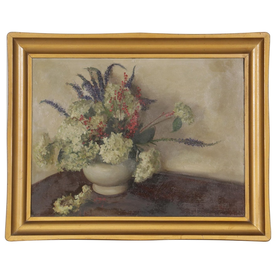 Paul C. Smith Oil Painting of Floral Still Life, 1938