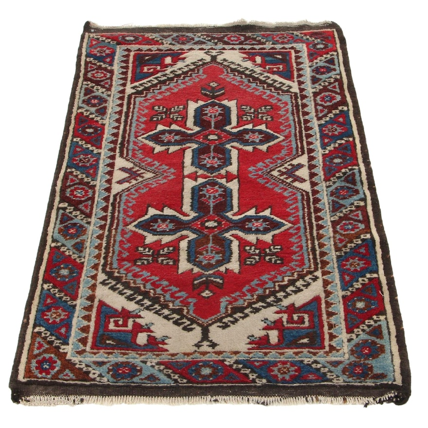 2'6 x 4'3 Hand-Knotted Turkish Village Accent Rug, 1930s