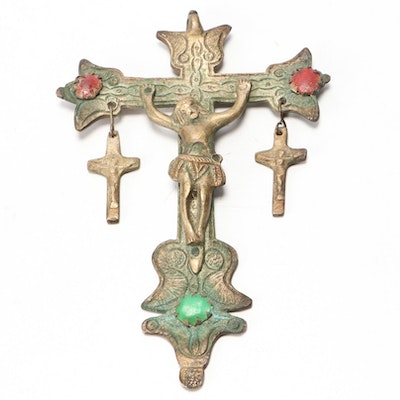 Eastern European Metal Crucifix with Glass Cabochons, 19th Century