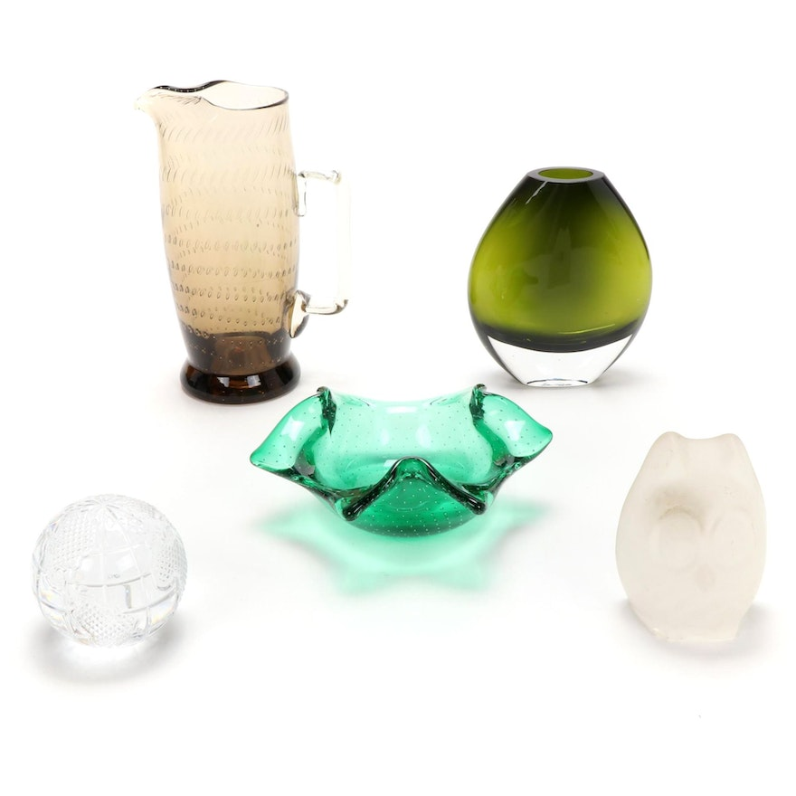 Waterford, Lenox, and Other Glass Paperweights, Vase, Pitcher and Bowl