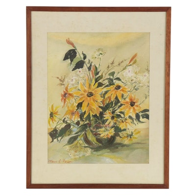 """Marie S. Person Watercolor Painting """"My Garden Flowers,"""" Late 20th Century"""