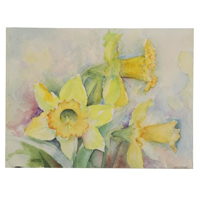 Miniature Watercolor Painting of Daffodils