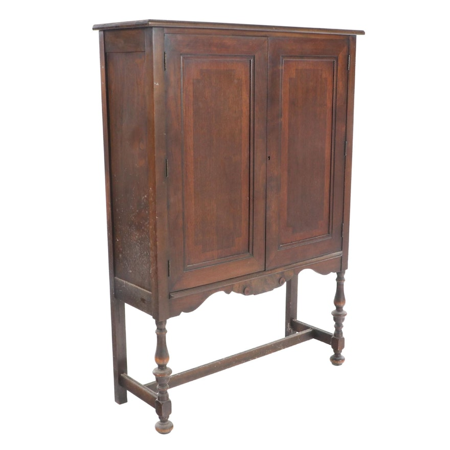 Jacobean Style Walnut China Cabinet-on-Stand, Early 20th Century