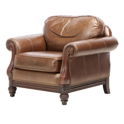 Bernhardt Furniture Brass-Tacked Leather and Hardwood Club Chair