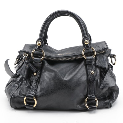 Miu Miu Fold-Over Two-Way Bow Satchel in Black Leather