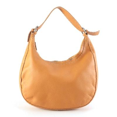 Fendi Semitracolla Selleria Hobo Bag in Orange Italian Pebbled Leather
