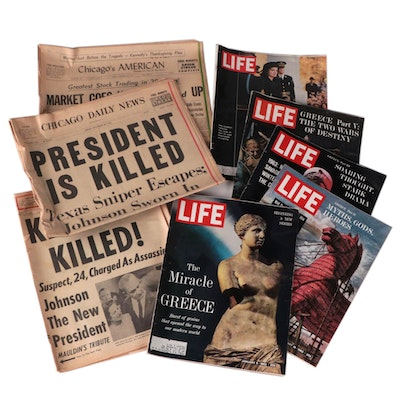 """Collection 1963 """"Life"""" Magazines and Newspapers Headlining Kennedy Assassination"""