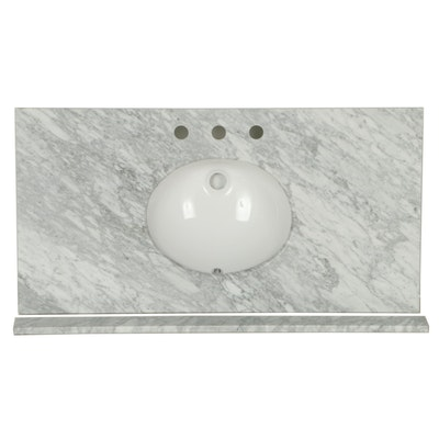 "43"" Italian Carrara Marble Vanity Top with 8"" Faucet Holes"