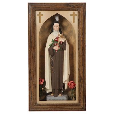 Saint Therese of the Child Jesus Figurine in Illuminated Case, Mid-20th Century