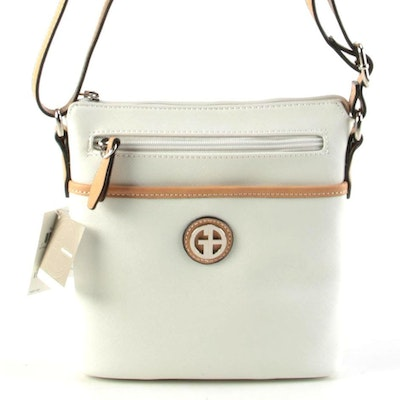 Giani Bernini White Saffiano Faux Leather Crossbody Bag