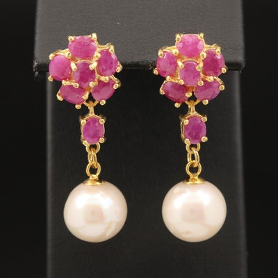Sterling Semi-Baroque Pearl and Corundum Earrings