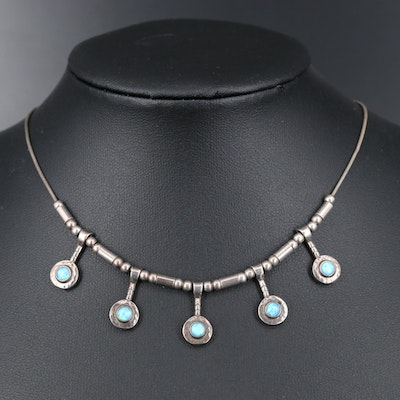 Sterling Silver Opal Drop Necklace