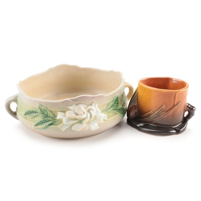"Roseville Pottery ""Pinecone"" Matchstick Holder and ""Gardenia"" Console Bowl"