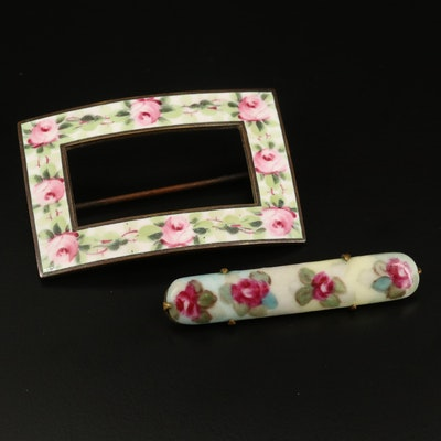 Vintage Floral Square and Bar Brooches with Ceramic and Enamel