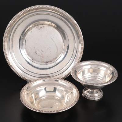 Wm. Rogers Mfg. Co. Sterling Silver Footed Bowl, Plate, and Serving Bowl