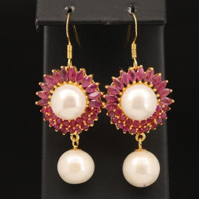 Sterling Baroque Pearl and Corundum Earrings