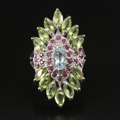 Sterling Peridot, Aquamarine and Garnet Cluster Ring