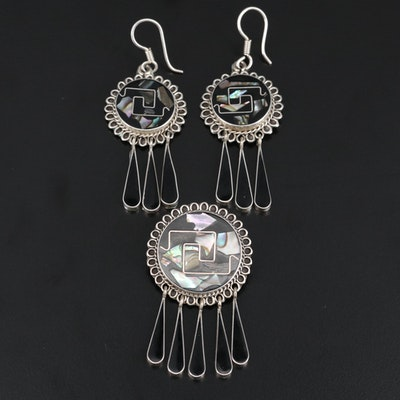 Sterling Silver Abalone Converter Brooch and Earring Set