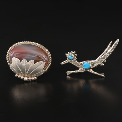 Southwestern Signed Sterling Silver Agate and Turquoise Brooches