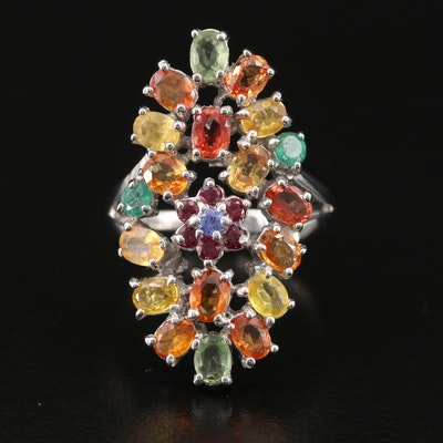 Sterling Sapphire, Garnet and Emerald Oval Cluster Ring