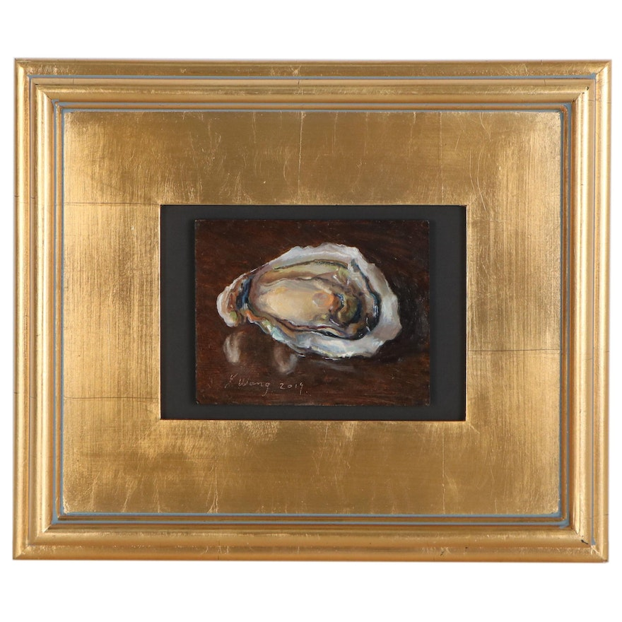 Youqing Wang Miniature Still Life Oil Painting of Oyster, 2019