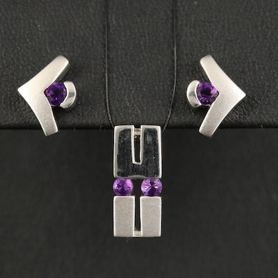 Sterling Amethyst Stud Earring and Pendant Set
