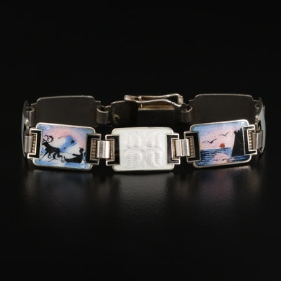 Vintage Norwegian Askel Holmsen Sterling Silver Guilloché Enamel Link Bracelet