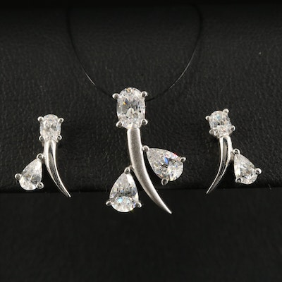 Sterling Cubic Zirconia Earring and Pendant Set