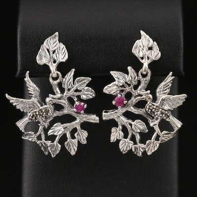 Sterling Silver Corundum and Marcasite Flora and Fauna Earrings