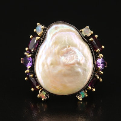 Sterling Silver Pearl, Amethyst and Garnet Ring