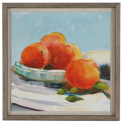 Still Life Offset Lithograph with Oranges, 21st Century