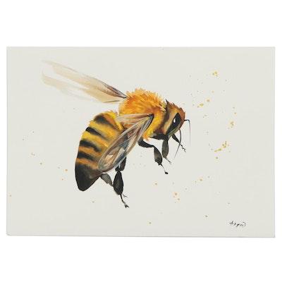 """Anne """"Angor"""" Gorywine Watercolor Painting of Honeybee, 2020"""