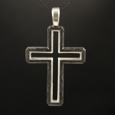 David Yurman Sterling Forged Carbon Cross Pendant