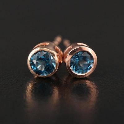 10K London Blue Topaz Stud Earrings