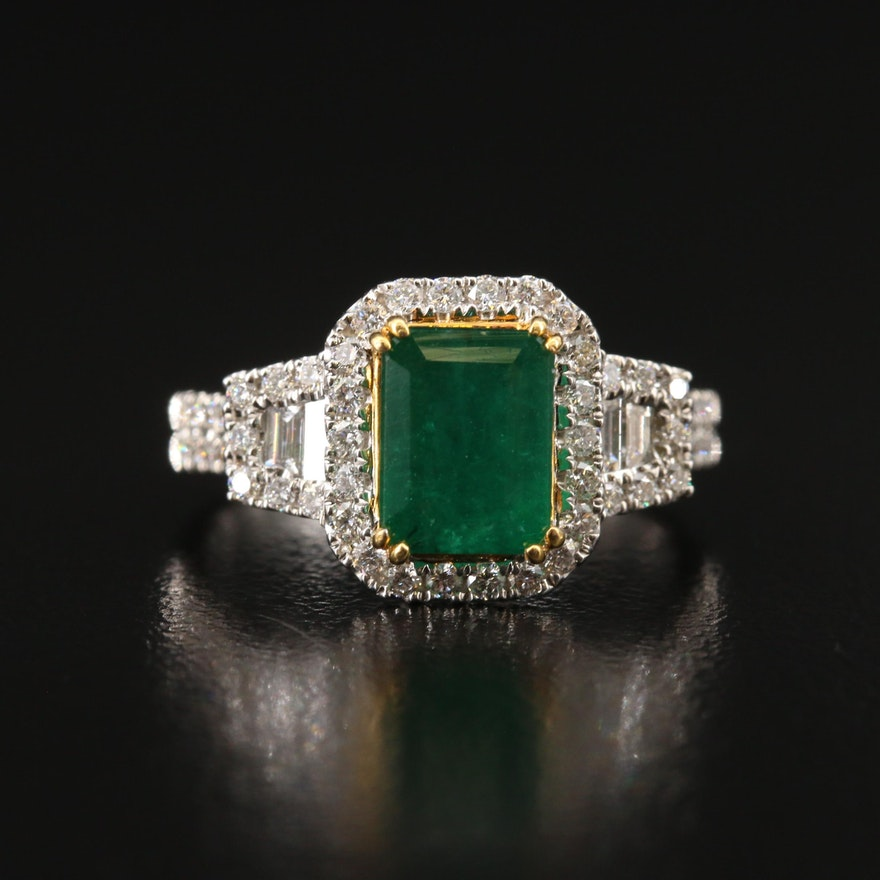 18K 2.10 CT Emerald and Diamond Ring