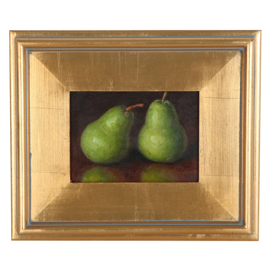 Youqing Wang Still Life Oil Painting of Pears, 2020