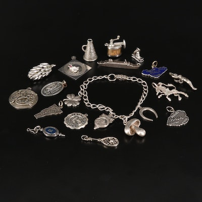 Sterling Charm Bracelet and Charms