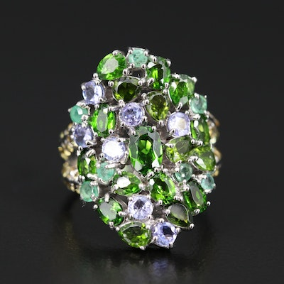 Sterling Silver Diopside and Tanzanite Saddle Ring