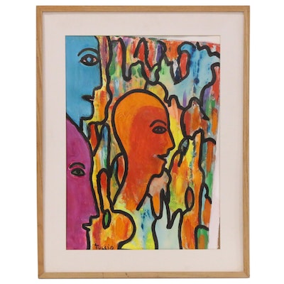 Charles Tullio Abstract Figural Acrylic Painting, 1988