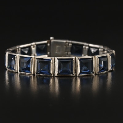 Art Deco Sterling and Czech Glass Bracelet