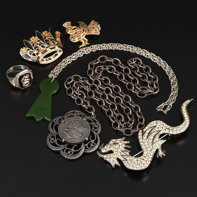 Vintage Jewelry Featuring Rhinestone Dragon Brooch