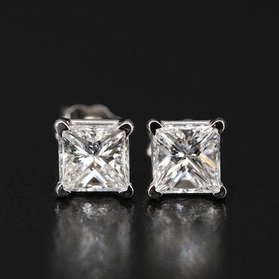 Platinum 1.17 CTW Diamond Stud Earrings with GIA Report